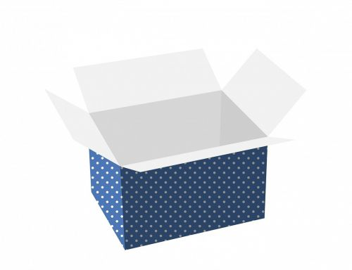 dėžė,Kartoninė dėžutė,pakavimas,dovanos,Dovanų dėžutė,atviras,dėžutė,taškeliai,tuščia,atvartos,balta,izoliuotas,fonas,menas,kietas,mėlynas