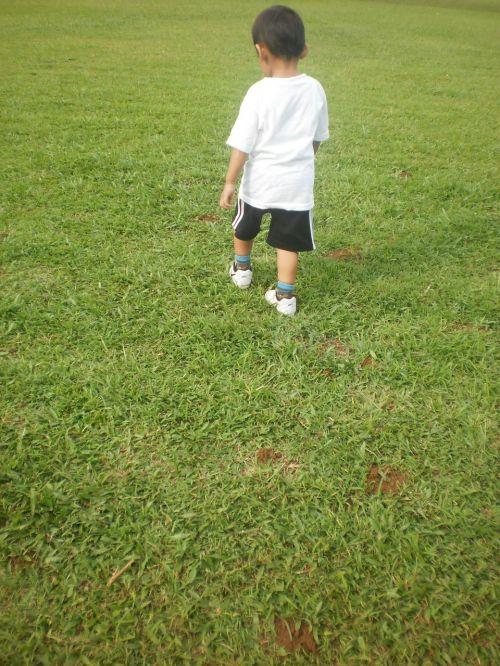 berniukas,vaikščioti,vaikas,veja,sodas,žolė,berniukas iš užpakalio,berniukas,žmogus
