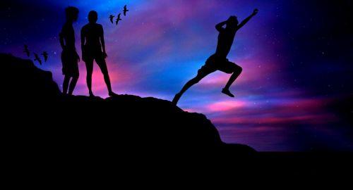 berniukai,žmogus,jūra,jaunas,šokinėti,Sportas,sportiškas,Rokas,drąsos,drąsus,drąsos testas,kranto,aukštas,jaunimas,jaunuoliai,abendstimmung,dangus,atostogos,vakarinis dangus,spalvinga,siluetas,atgal šviesa,žirklės supjaustyti,nuotaika,vakaras,twilight,atmosfera,dusk,kaukolės,mėlynas,violetinė
