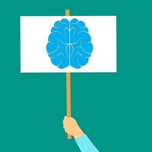 smegenų ikona, protas, mąstymas, smegenų audra, smegenų logotipas, smegenų galia, smegenų sveikata, priežiūra, ranka, lenta, be honoraro mokesčio