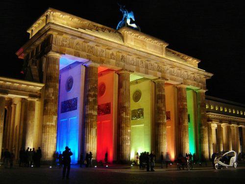 brandenburgo vartai,Berlynas naktį,Berlynas,šviesos miestas,menas,apšvietimas