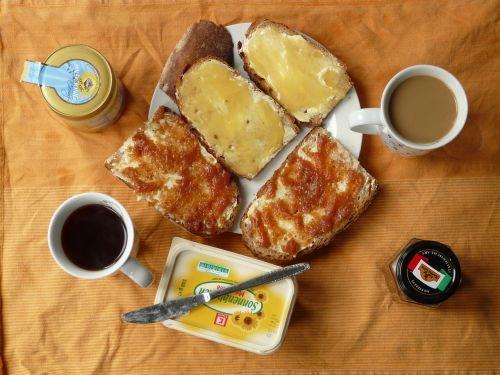 pusryčiai,kava,valgyti,rytas,medus,medaus duona,džemas,sumuštinis džemas