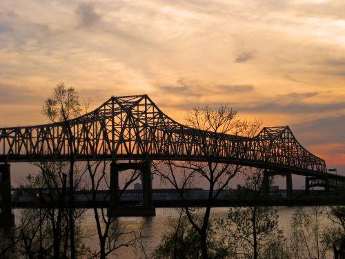 tiltas,Misisipi upė,baton rouge,Luiziana,saulėlydis,vanduo,upė