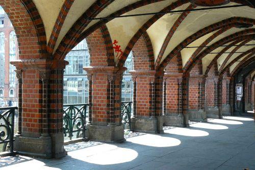 tiltas,architektūra,arkos,arcade,pastatas,struktūros,ramstis,arka,stuetztpfeiler,arcade,oberbaumbrücke,Berlynas,Vokietija,kapitalas,šešėlis,šviesa,ispaniškas,šviesos paplitimas,šešėlių žaidimas,turėklai,papuoštas,ornamentas,paminklas