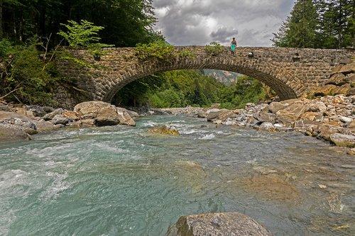 tiltas, Bach, kalnų upelis, engelberger aa, vandens, vaga, upelis
