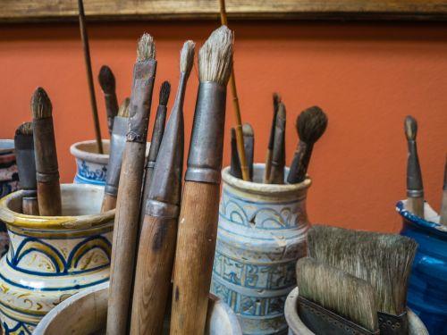 šepečiai,dailininkas,dažymas,dėžė,spalva,menas,spalvos,keramika,drobė,amatai,amatų produktai,dizainas