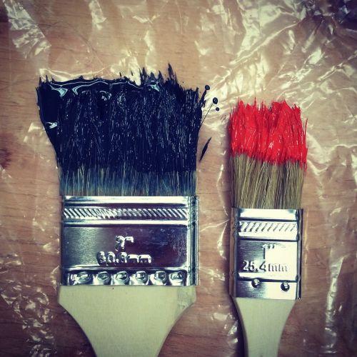 šepečiai,spalva,dažyti,spalvinga,meno,įranga,raudona,juoda,makro,Iš arti,piešimas,kūrybiškumas,teptukas