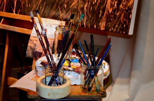 šepečiai, dažyti, reikmenys, dažymas, menas, makro, fonas, spalva, vaizdas, šepečiai ir dažai