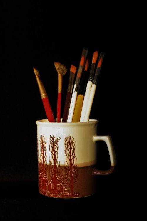 konteineris, puodelis, šepečiai, menas, įvairus, šepečiai menui