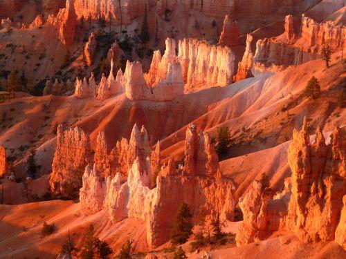 Bryce kanjonas,Nacionalinis parkas,saulėtekis prie Bryce kanjono,kraštovaizdis,raudona roko,pietvakarius,lauke,kanjonas