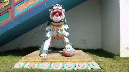 budistinis, budizmas, šventykla, vienuolynas, priekinis, liūtas, statula, drakonas, budistinis liūtas