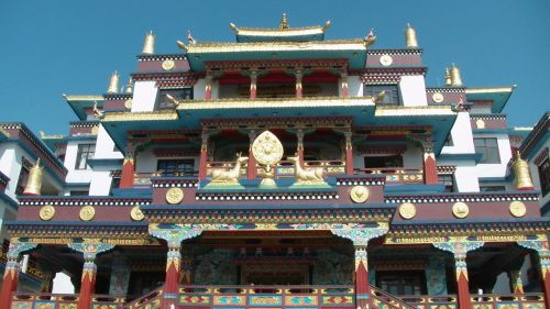 budistinis, budizmas, šventykla, vienuolynas, priekinis, vaizdas, budistinis vienuolynas