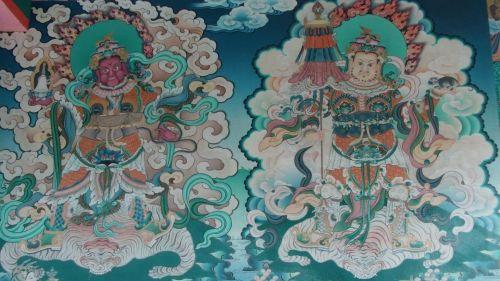 budistinis, budizmas, šventykla, vienuolynas, dažymas, siena, budistinis tapyba
