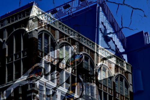 pastatai, abstraktus, montavimas, sluoksniuota, mėlynas, vaikas, pastato montavimas