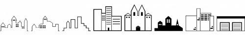 pastatai, juoda, balta, siluetai, formos, izoliuotas, paprastas, piešimas, pastatai
