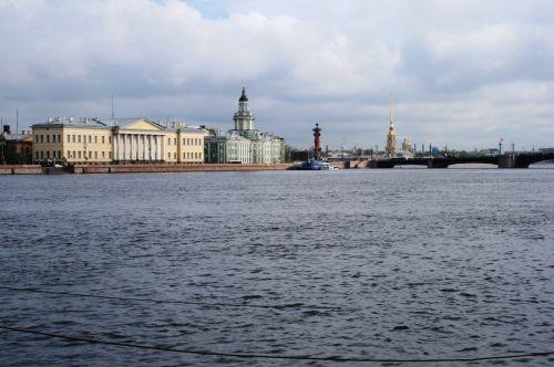 upė, vanduo, mėlynas, krantinė, pastatai, orientyrai, Neva upės pastatai