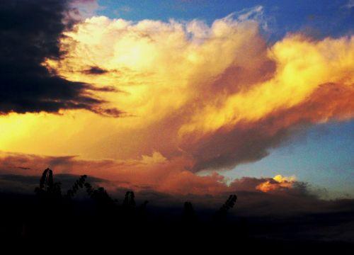 debesis, geltona, oranžinė, didelis, pastatas & nbsp, žėrintis, saulėlydis, dangus, didelis debesis