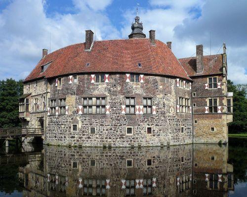 Burg Vischering, Pilis, Moat, Lüdinghausen, Vokietija, Westphalen, Vokietija