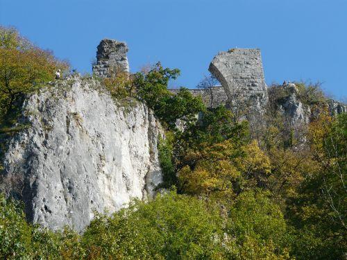 burgūrijos,sugadinti hohengerhausen,sugadinti,pilis,pilies griuvėsiai,rusenschloss,aukštis burg,gerhausen,blaubeuren,alb donau ratas,baden württemberg