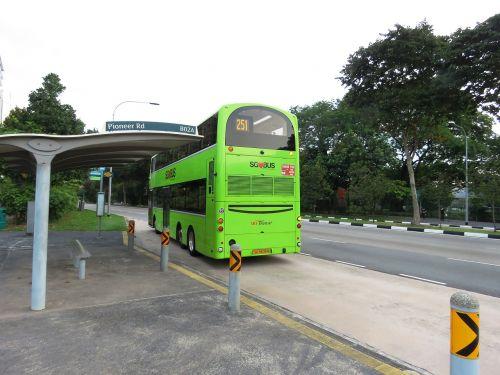 autobusas,autobusų stotelė,Singapūras,vyriausybės autobusas,kelionė,keliauti,transportas,transporto priemonė,žalia autobusas,kelionė,sbs tranzitas,Singapūras autobusas