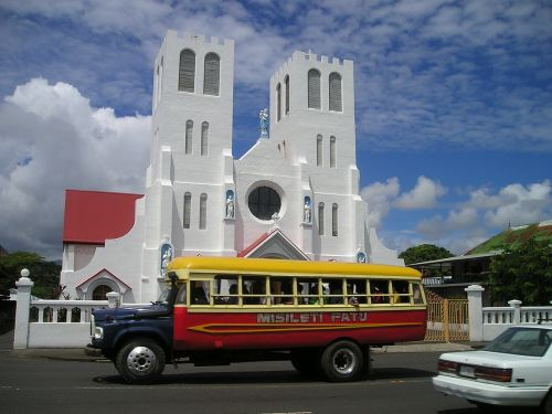 autobusas,bažnyčia,samoa,egzotiškas,Pietų jūra