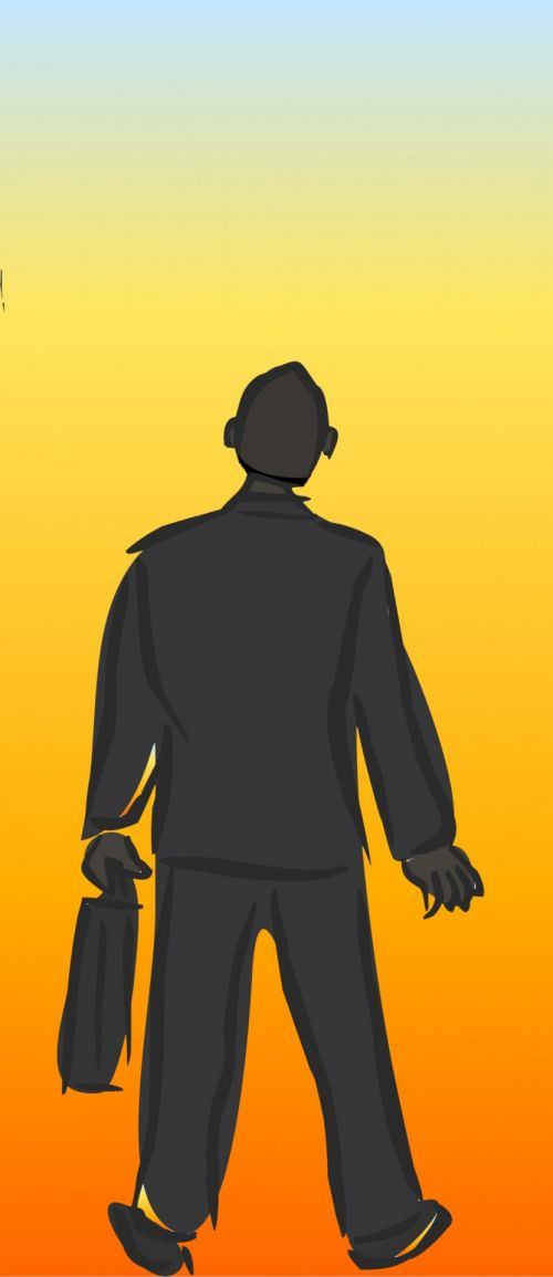 verslas, verslininkas, siluetas, gradientas, oranžinė, liepsna, spalva, fonas, verslininkas