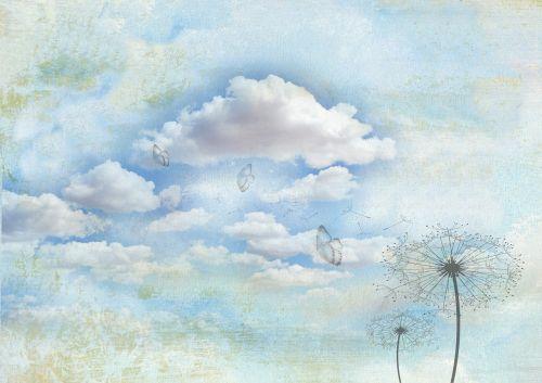 drugeliai,kiaulpienės,kiaulpienė,debesys,tekstūra,Raštinės reikmenys,vintage,žemėlapis,atvirukas,fonas,fono paveikslėlis,švelnus,plūdė,struktūra,romantika,romantiškas,mėlynas,deko,Valentino diena,plakatas