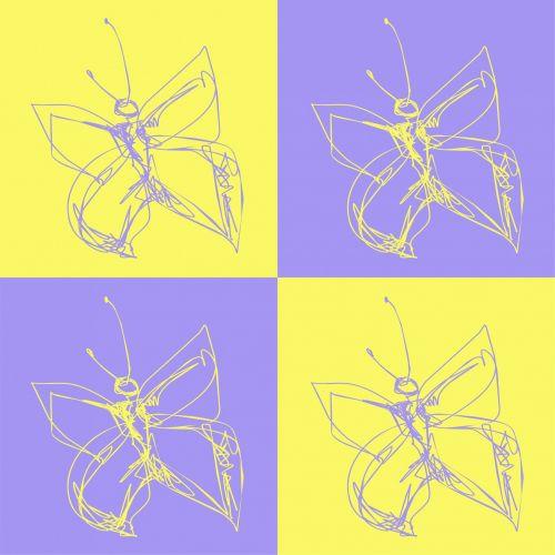 drugeliai, piešimas, nustatyti, kontūrai, Warhol, stilius, gyvūnai, grietinėlė, fonas, drugeliai nustatyti
