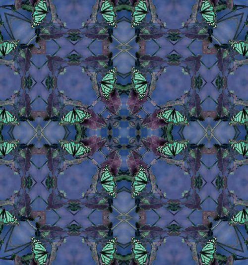 fonas, tapetai, Kaleidoskopas, drugelis, drugeliai, monarchas & nbsp, drugelis, monarchas, žalias, mėlynas, turkis, gamta, dizainas, modelis, kvadratas, aikštės, simetrija, klaidas, vabzdžiai, pavasaris, drugelis fone