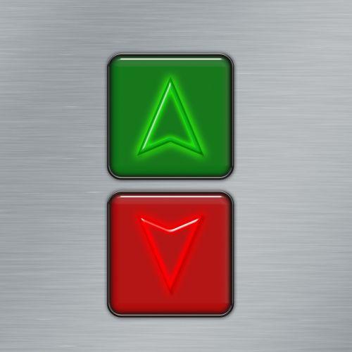 mygtukas,on,iš,žemiau,aukštas,rodyklė,aukštyn,žemyn,liftas,Liftas
