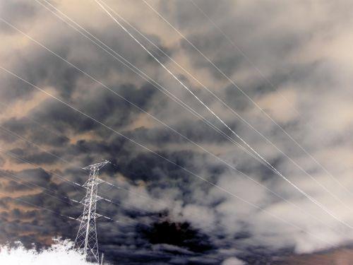 kabeliai, pilonas, elektrinis, debesys, kabeliai ir debesis invertuoti