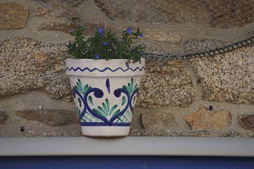 Puodą,  Sodintuvas,  Gėlės,  Dekoracijos,  Mėlynas,  Keramika,  Gelės Vazonas
