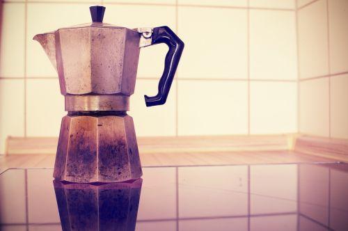 caffettiera,espresso puodą,espresso,puodą,kava,gerti,virtuvė,viryklė,virėjas,alavas,alu,kultas,kultišas,retro,plytelės