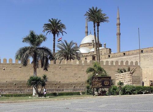 Kairas, Citadel, mečetė, minaretas, įtvirtinimai, palmių, kelionė, architektūra