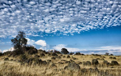 Kalifornija, kažkur, saulė, dangus, debesis, žolė, geltona, mėlynas, sausas, akmuo, Rokas, Sierra & nbsp, nevada, Kalifornija 4