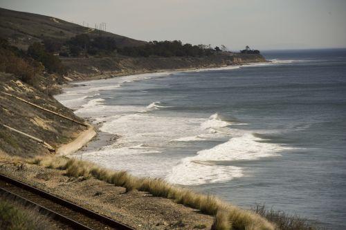 papludimys, Kalifornija, vandenynas, naršyti, pakrantė, kraštovaizdis, Kalifornijos paplūdimio pakrantė