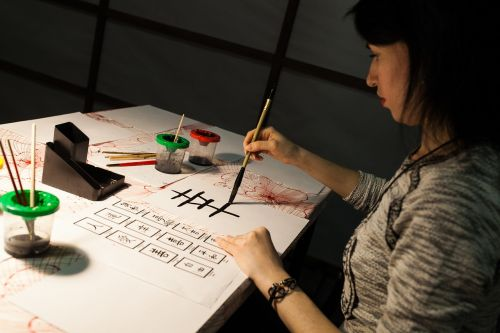 kaligrafija,Japonija,charakteris