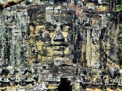 Kambodža,Angkor,šventykla,bayon,veidas,sugadinti,atrodo,angkor tomas