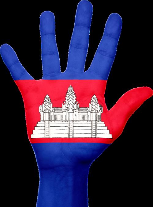 Kambodža,vėliava,ranka,nacionalinis,pirštai,patriotinis,patriotizmas,asija,asian,Kambodža