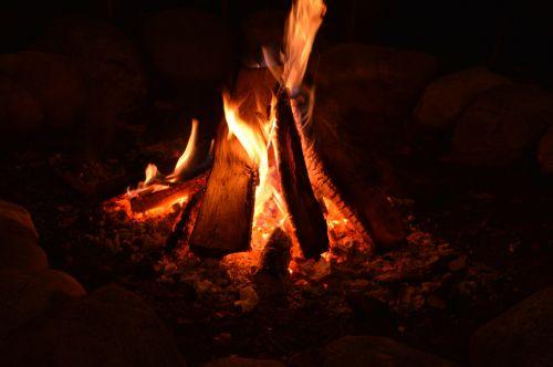 Ugnis, liepsna, deginti, stovykla & nbsp, ugnis, stovyklos ugnis