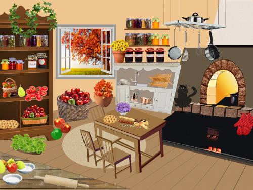 konservavimas,kritimas,obuoliai,gamta,langas,namas,juoda katė,gėlės,krepšelis,stiklainiai,džemas,daržovės,saulėgrąžos,pyragas,virimo,lašintuvo dėklas,keptuvės,varis,Tešlos volelis,stalas ir kėdės,marinatai,derlius,puodai,orkaitė,pomidorai,maistas,iliustracija