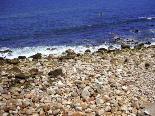 jūra, vanduo, mėlynas, mėlynas & nbsp, dangus, mėlynas & nbsp, vanduo, irklas, kanoją, baidarėmis, įlanka, laisvalaikis, linksma, baidarėmis iš uolų paplūdimio