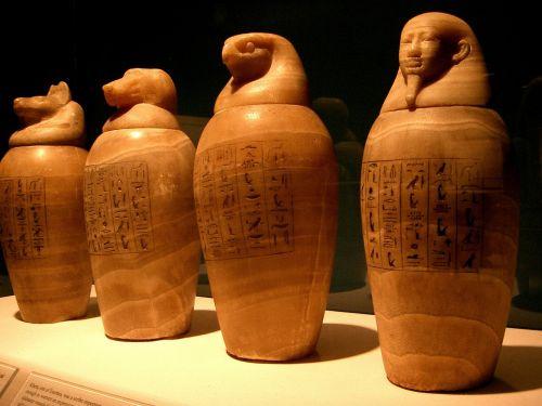 Kanapės dubenys, Egiptas, egyptian, faraonas, mama, Balzamas, muziejus, eksponatas, horas, anubis, organai
