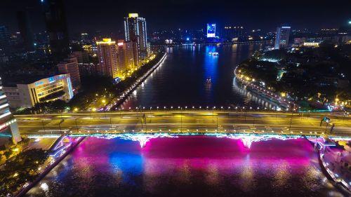 kantonas,tilto išlaisvinimas,naktinis vaizdas