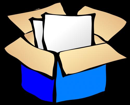 Kartoninė dėžutė,atviras,lakštai,dėžė,konteineris,paketas,siuntas,paketas,nemokama vektorinė grafika