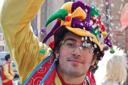 Karnavalas, festivalis, paradas, žmogus, kostiumas, Harlequin, konfeti, spalvinga, Kasper, iki Eulenspiegel, panelė, Gatvė paradas, kaukė, malonumas, Asmeninis, vyras, žmogus, veidas