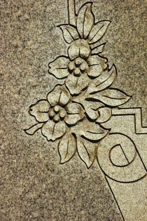 drožyba, gėlės, kapinės, simbolis, išsamiai, granitas, kapas, drožyba griuvėsiais 4