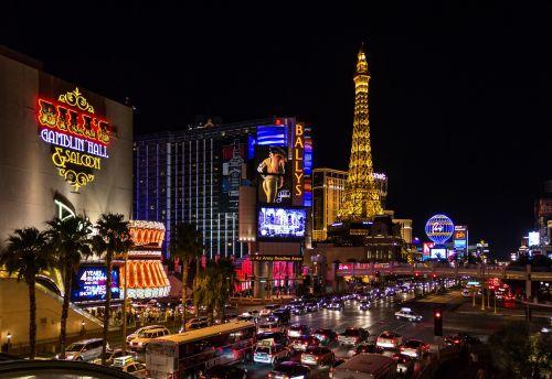 Las Vegasas,Jungtinės Valstijos,naktis,gatvė,kazino-internetinis kazino,lizdas,Eifelio bokštas