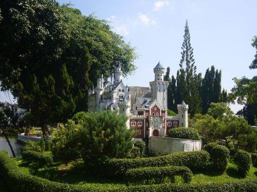 pilis,miniatiūrinė,lankytinos vietos,pastatas,verta aplankyti,Tailandas,kopija