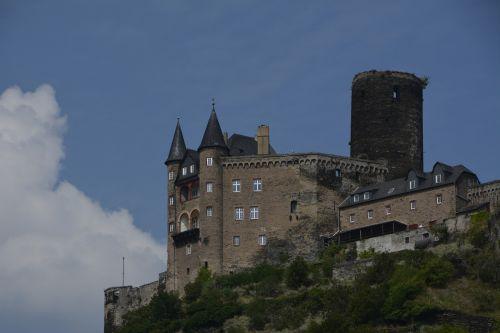 pilis,rinas,Viduramžiai,Vokietija,dabartinis,perspektyva,vaizdas,vasara,vynuogynų plotas,istorija,romantiškas,kraštovaizdis,upė